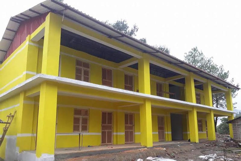 A view of the newly constructed school building of Bhim Secondary School in Melung Rural Municipality, Dolakha, on Monday, July 16, 2018. Photo: THT