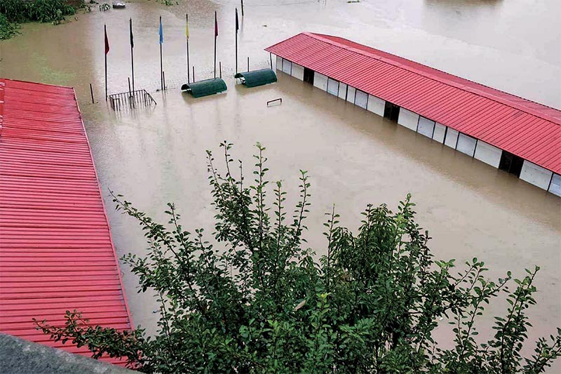 Buildings of a school submerged in floodwater in Suryabinayak, Bhaktapur, on Friday, July 13, 2018. Photo: RSS