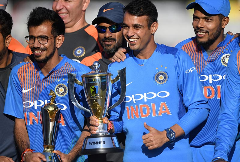 India players celebrate their win with the trophy during the Second International T20 match between Ireland and India, at The Village, in Malahide, Ireland, on June, 29, 2018. Photo: Reuters