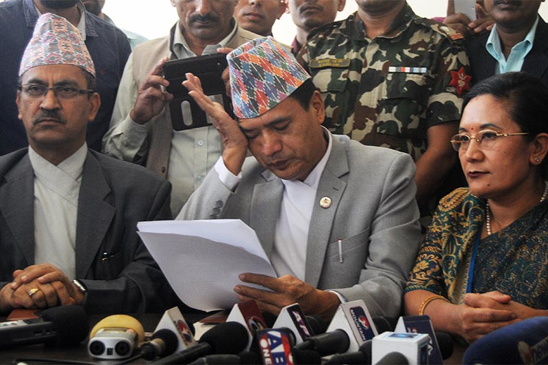 Minister of Law, Justice and Parliamentary Affairs Sher Bahadur Tamang breaks down at a press meet organised to announce his resignation, in Kathmandu, on Tuesday, July 24, 2018. Photo: Balkrishna Thapa Chhetri/THT