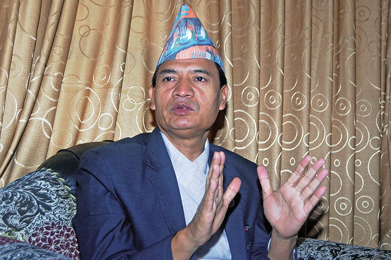 Interview with Minister of Law, Justice and Parliamentary Affairs Sher Bahadur Tamang, in Kathmandu, on Sunday, July 1, 2018. Photo: Balkrishna Thapa Chhetri/THT