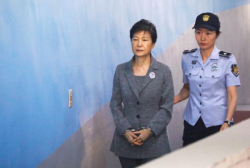South Korean ousted leader Park Geun-hye arrives at a court in Seoul, South Korea, on August 25, 2017. Photo: Reuters/ File