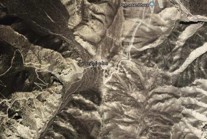 A satellite image of incident site Syanboche. Photo: Google Maps