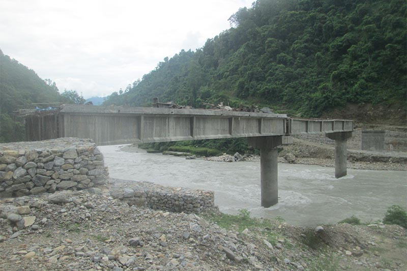 A view of under-construction bridge over Seti River  at Sudhe, in Tanahun district, on Tuesday, July 24, 2018. Photo: Madan Wagle/THT