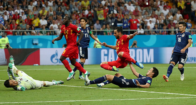 Belgium's Nacer Chadli scores their third goal during the World Cup Round of 16 match between Belgium and Japan, at Rostov Arena, in Rostov-on-Don, Russia, on July 2, 2018. Photo: Reuters