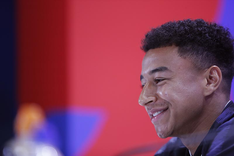 England's Jesse Lingard speaks at a press conference in the England media centre at the 2018 soccer World Cup, in Repino, near St Petersburg, Russia, Sunday, July 1, 2018. Photo: AP