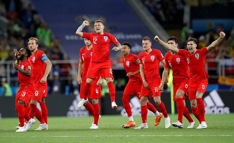 England players celebrate during the penalty shootout during the World Cup Round of 16 match between Colombia and England at Spartak Stadium, in Moscow, Russia, on July 3, 2018. Photo: Reuters