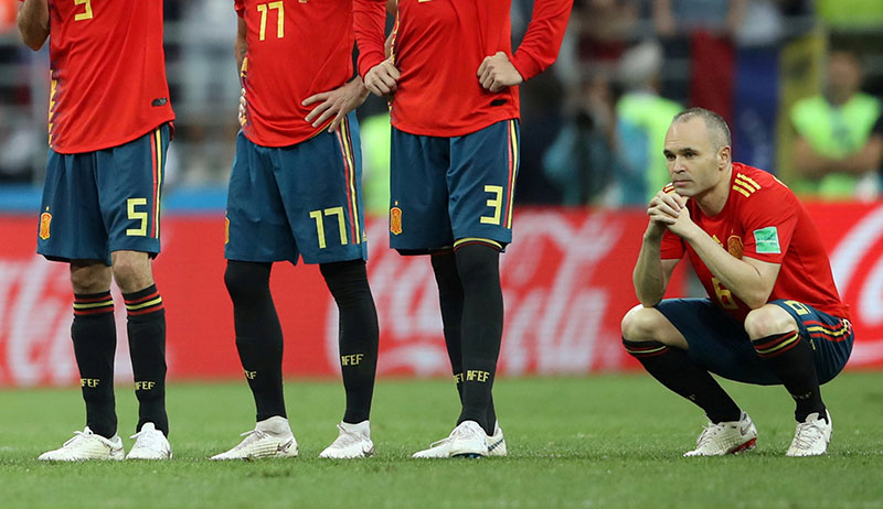 Spain's Andres Iniesta looks dejected after losing the penalty shootout durinf the World Cup Round of 16 match between Spain and Russia, at Luzhniki Stadium, in Moscow, Russia, on July1, 2018. Photo: Reuter