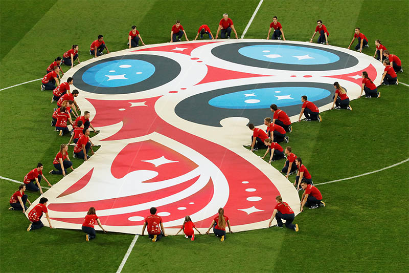 Banner displayed on the pitch before the match. Photo: Reuters