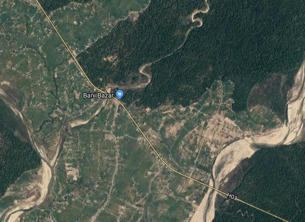 A satellite image of Bani Bazaar in Krishnapur Municipality and surrounding forests along the east west highway Photo: Google Maps