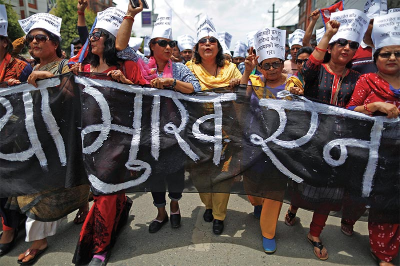 A rally being taken out in support of Dr Govinda KC, in Kathmandu, on Saturday. Photo: THT