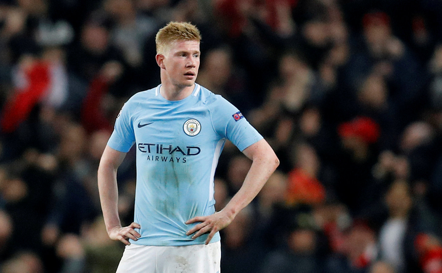 FILE PHOTO: Manchester City's Kevin De Bruyne in Champions League action at Etihad Stadium, Manchester, Britain - April 10, 2018.       REUTERS