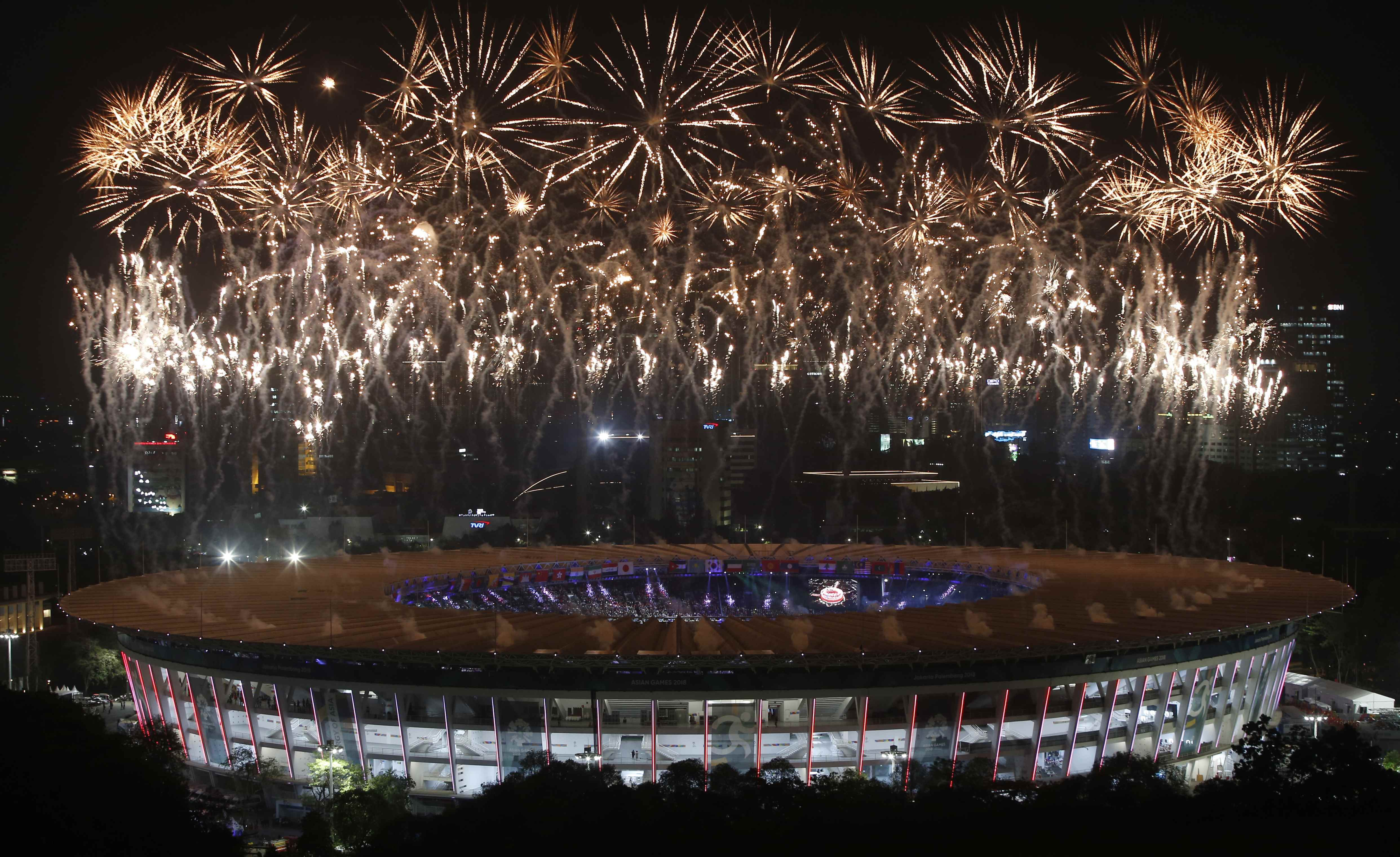 2018 Asian Games u2013 Opening ceremony - GBK Main Stadium u2013 Jakarta, Indonesia u2013 August 18, 2018 u2013 A general view of fireworks during the opening ceremony. REUTERS