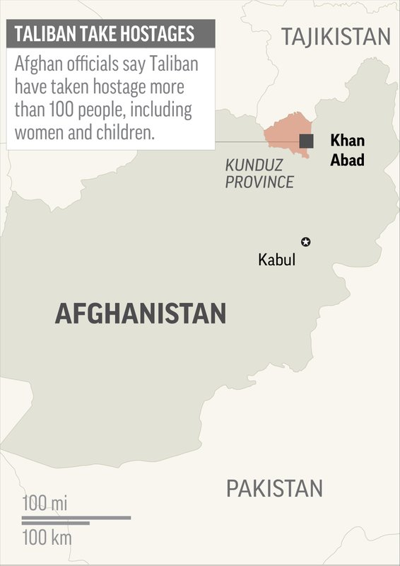 Map locates Khan Abad in Afghanistan, where Taliban fighters took at least 100 people hostage; 1c x 2 inches; 46.5 mm x 50 mm; Photo: APn