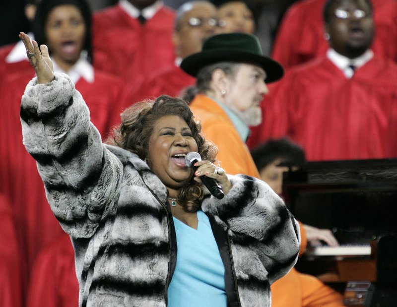 FILE - In this photo, Aretha Franklin and Dr. John, background on piano, perform the national anthem before the Super Bowl XL football game in Detroit on Feb. 5, 2006. Photo: AP