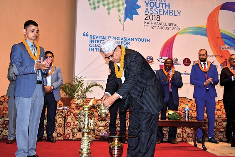 Speaker of the House of Representatives Krishna Bahadur Mahara inaugurating the Asian Youth Assembly, in Kathmandu, on Saturday. Photo: THT