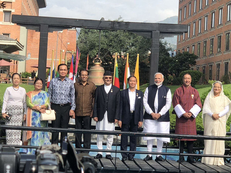 Heads of states/governments of BIMSTEC member states during the retreat this morning, at Soaltee Crowne Plaza, in Kathmandu, on Friday, August 31, 2018. Photo: Twitter/MoFA