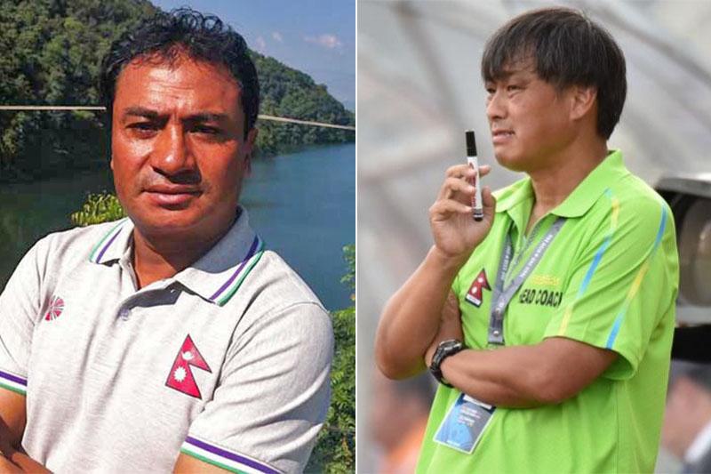 National football team assistant-coach Bal Gopal Maharjan (left) and Japanese head coach Koji Gyotoku. Photos: THT