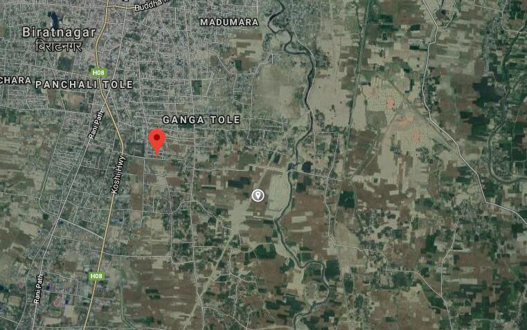 A satellite image of incident site in Biratnagar. Photo: Google maps