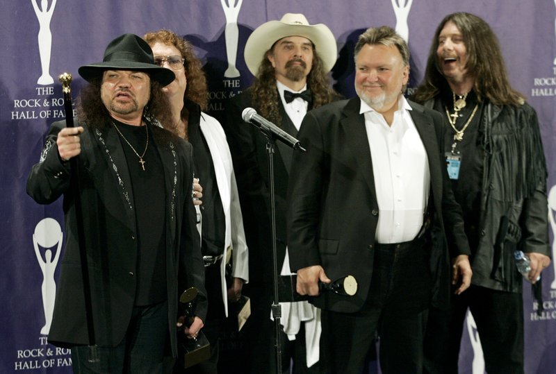 FILE - In this photo, members of Lynyrd Skynyrd, from left, Gary Rossington, Billy Powell, Artimus Pyle, Ed King and Bob Burns, appear backstage after being inducted at the annual Rock and Roll Hall of Fame dinner in New York on  March 13, 2006. Photo: AP