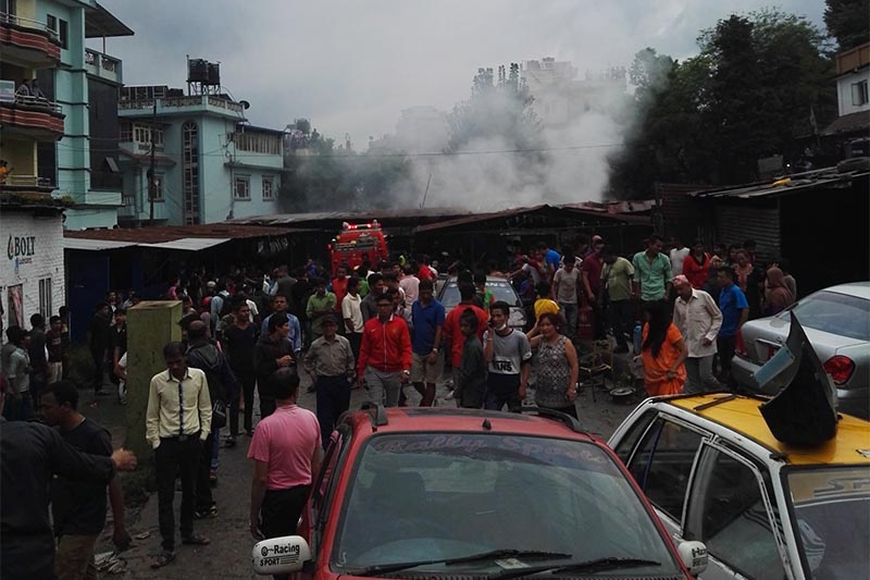 Scores of people and security personnel have gathered around the incident site in Bishalnagar, Kathmandu. Photo: THT Online