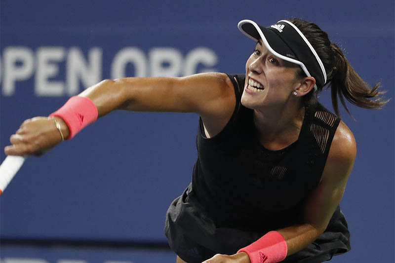 Garbine Muguruza of Spain serves against Karolina Muchova of Czech Republic (not pictured) in the second round on day three of the 2018 US Open tennis tournament at USTA Billie Jean King National Tennis Center. Mandatory Credit: Geoff Burke-USA TODAY Sports