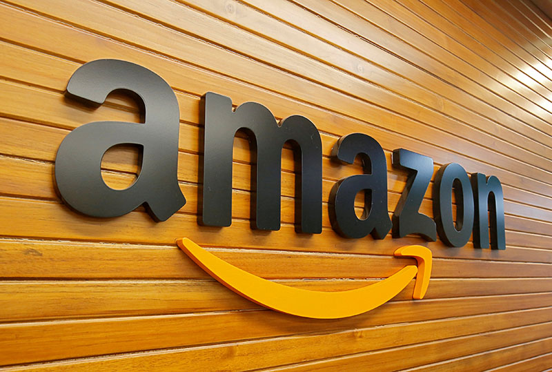 The logo of Amazon is pictured inside the company's office in Bengaluru, India, April 20, 2018.   Photo: Reuters/ File