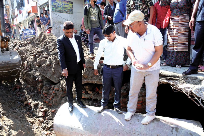 Minister of Physical Infrastcture and Transport Raghubir Mahaseth inspecting the Jorpati-Sankhu road, in Kathmandu, on Thursday, August 9, 2018. Photo: THT