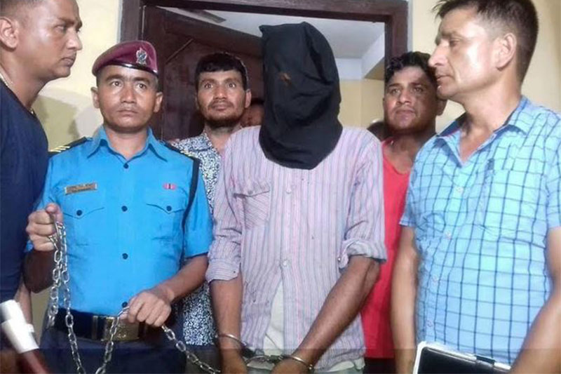 FILE PHOTO: Dilip Singh Bista, the rape accused being made public at the Kanchanpur District Police Office. Photo: Tekendra Deuba