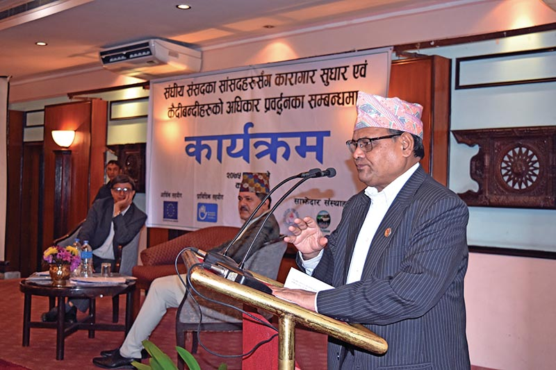 Speaker of the House of Representatives Krishna Bahadur Mahara speaking at a programme, in Kathmandu, on Saturday. Photo: THT
