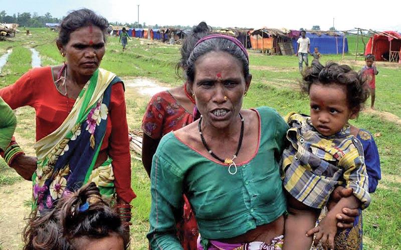 Landless squatters at Haraiya  camp, in Dhangadi Sub-metropolitan City, Kailali, on Saturday. Photo: THT