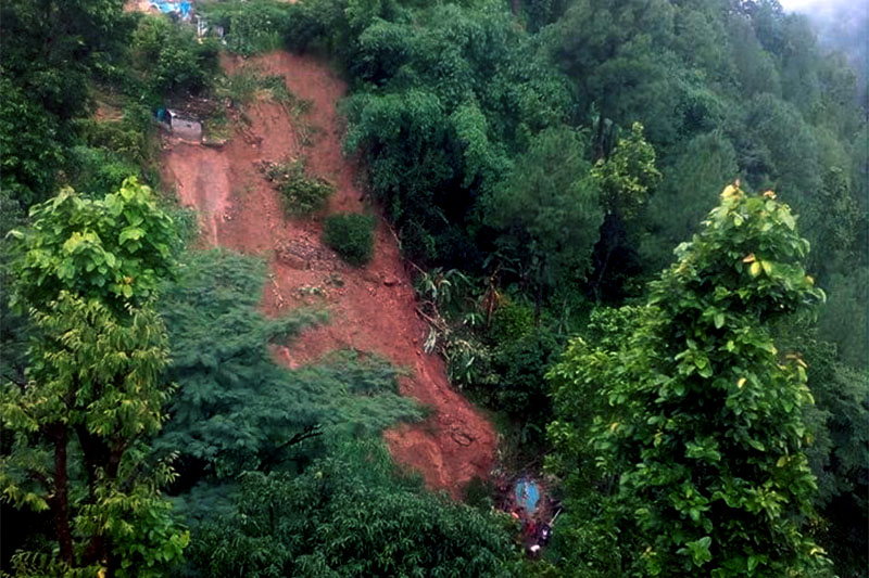 The incident site in Jajarkot where two houses are buried under debris as landslip swept them on Sunday morning, August 5, 2018. Photo: Dinesh Kumar Shrestha