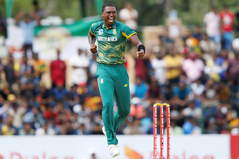 South Africa's Lungi Ngidi celebrates after taking a wicket. Photo: Reuters