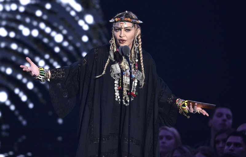 Madonna presents a tribute to Aretha Franklin at the MTV Video Music Awards at Radio City Music Hall on Monday, Aug. 20, 2018, in New York. Photo: AP