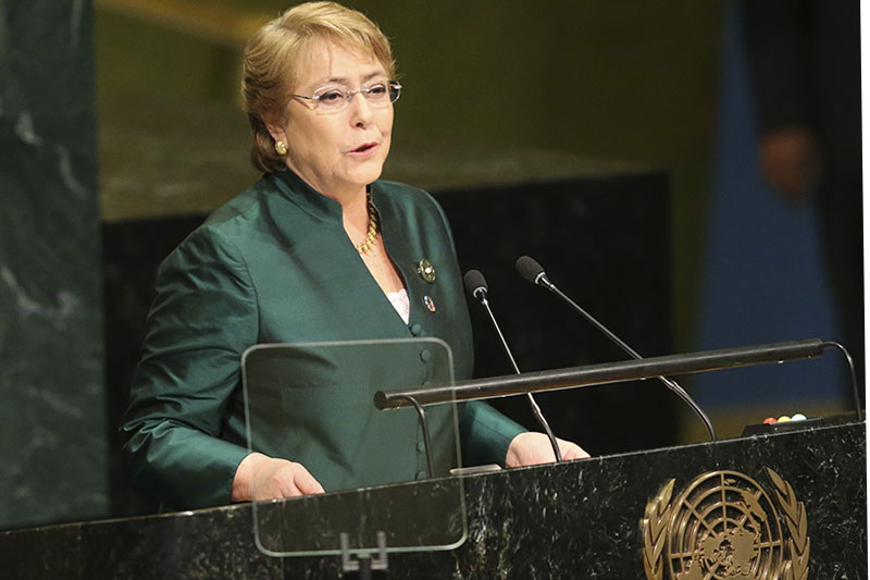 FILE - In this Sept. 21, 2016 file photo, then Chilean President Michelle Bachelet speaks during the 71st session of the United Nations General Assembly at U.N. headquarters. Diplomats say Secretary-General Antonio Guterres has chosen former president Bachelet to be the next UN human rights chief. The diplomats said Wednesday, Aug. 8, 2018, that UN Deputy Secretary-General Amina Mohammed told a group of ambassadors of Guterres' decision on Tuesday. Photo/AP
