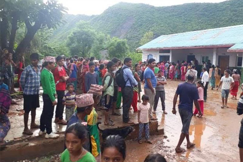 A scene outside the Mission Hospital in Chaurjahari after tension erupted due to a patientu2019s death, in West Rukum, on Monday, August 6, 2018. Photo: THT