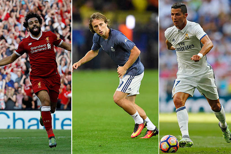 Liverpool striker Mohamed Salah (left), Real Madrid midfielder Luka Modric (centre) and Real Madrid's prolific goal scrorer Cristiano Ronaldo. Photos: Reuters