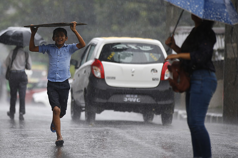 A boy shelters himself with a wooden board as he smiles and runs under the rain, in Kathmandu, on Tuesday, August 07, 2018. Photo: Skanda Gautam/THT