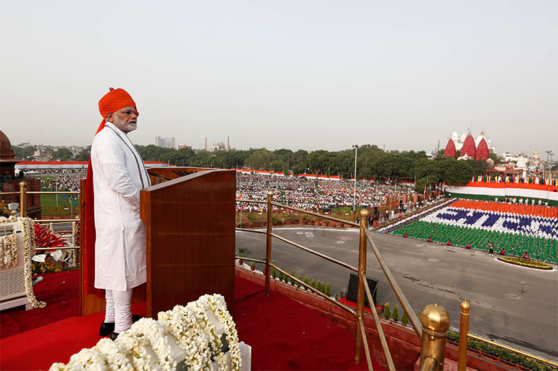 Indian Prime Minister Narendra Modi addresses the nation during Independence Day celebrations at the historic Red Fort in Delhi, India, August 15, 2018. Photo: Reuters