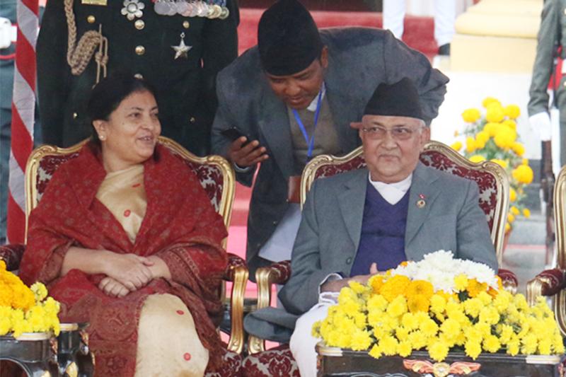 File - Newly elected President Bidya Devi Bhandari (left) with Prime Minister KP Sharma Oli and Speaker Onsari Gharti, at the former's swearing-in ceremony, in Kathmandu, on Thursday, October 29, 2015. Photo: RSS