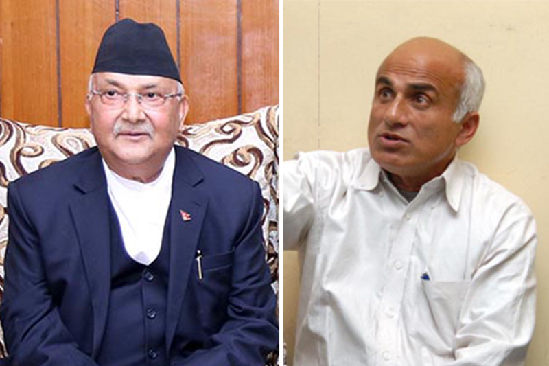This combo image shows Prime Minister KP Sharma Oli (left) and Senior Orthopaedic Surgeon at the Tribhuvan University Hospital, Maharajgunj, Dr Govinda KC. Photo: THT Online