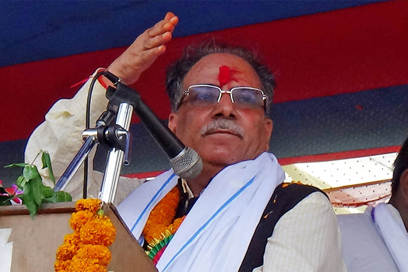 NCP (NCP) co-chair Pushpa Kamal Dahal arrives in Bara district to lay foundation stones of two development infrastructure projects in the district, on Sunday, August 05, 2018. Photo: Puspa Raj Khatiwada