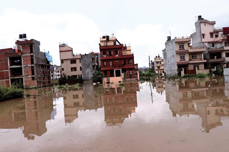 Houses submerged in floodwaters after heavy rainfall in Radhe Radhe, Madhyapur Thimi, on Sunday, August 5, 2018. Photo: THT