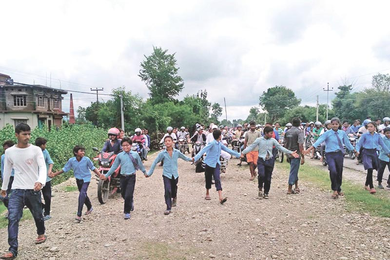 FILE: Schoolchildren taking part in a protest demanding that police take action against the actual culprit in the Nirmala Panta rape and murder case, in Kanchanpur, on Thursday, August 23, 2018. Photo: RSS