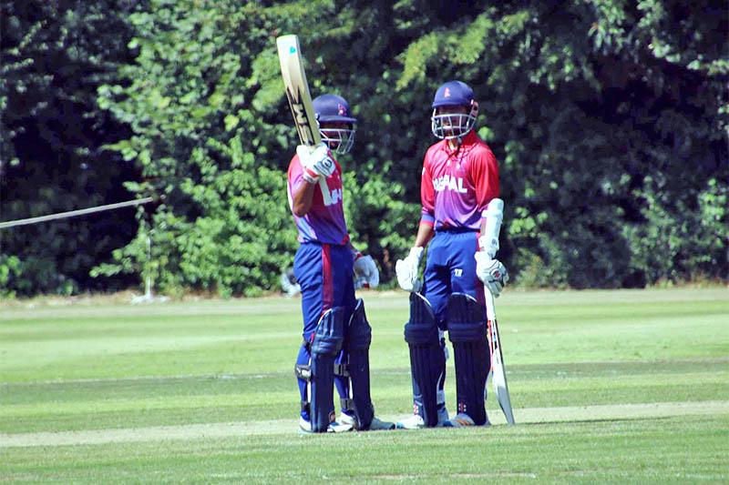 Nepal's lower order hard hitting batsman Sompal Kami acknowledges the crowd after scoring half-century against Dutch. Courtesy: Raman Shiwakoti