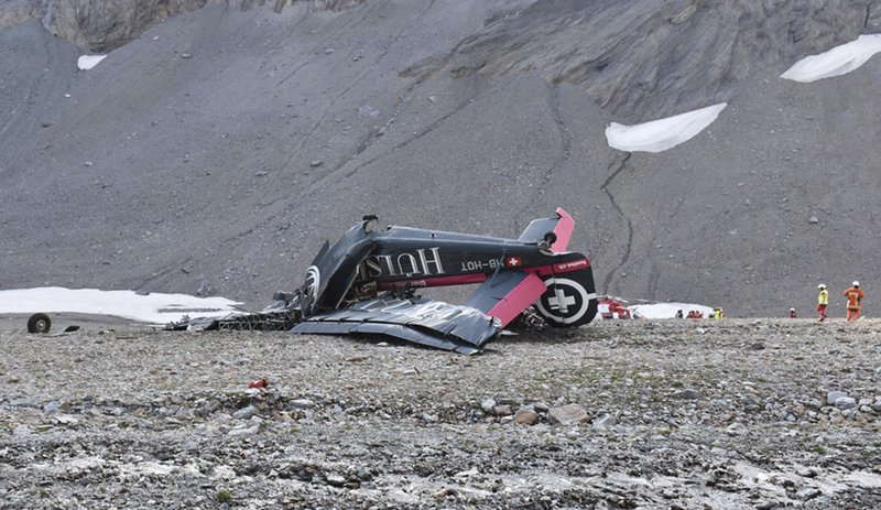 The photo provided by Police Graubuenden shows the wreckage of the old-time propeller plane Ju 52 after it went down went down Saturday Aug, 4 2018 on the Piz Segnas mountain above the Swiss Alpine resort of Flims, striking the mountainu2019s western flank about 2,540 meters (8,330 feet) above sea level. All 20 people on board were killed, police said on Sunday, Aug. 5, 2018. Photo: APn