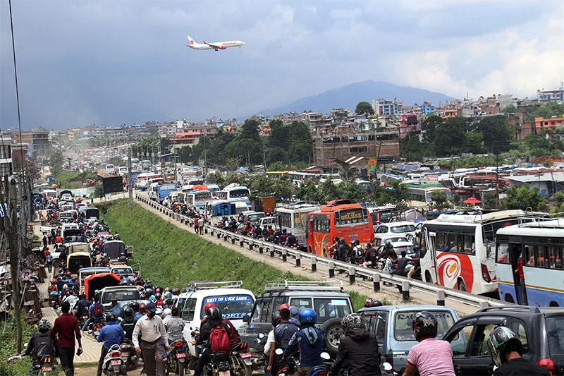FILE: A traffic jam seen along Koteshwor-Jadibuti-Lokanthali road section on Sunday, August 26, 2018. Photo: RSS