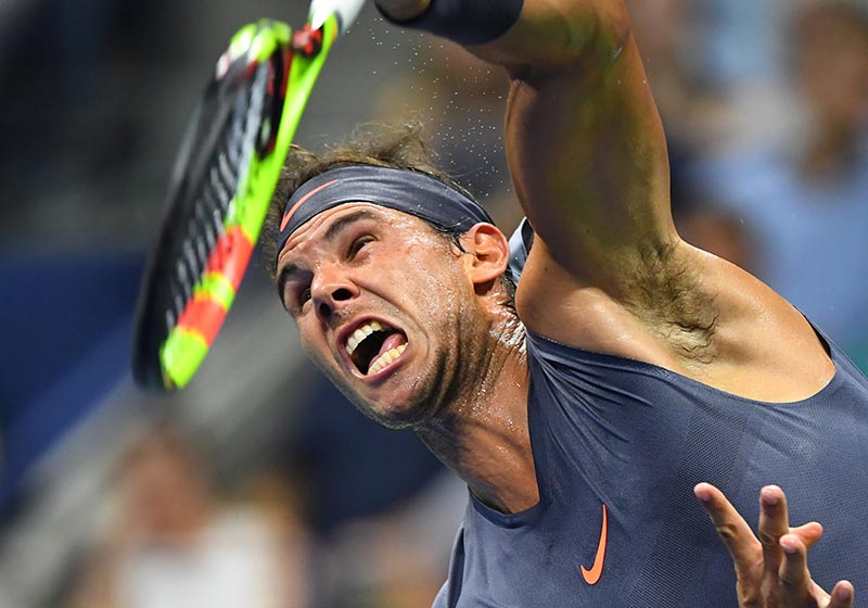 Rafael Nadal of Spain hits to David Ferrer of Spain in a first round match on day one of the 2018 U.S. Open tennis tournament at USTA Billie Jean King National Tennis Center, in New York, NY, USA, on Aug 27, 2018. Photo: Robert Deutsch-USA TODAY Sports via Reuters