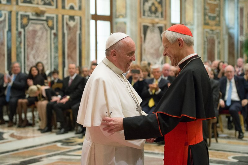 FILE - In this photo, Pope Francis, left, talks with Papal Foundation Chairman Cardinal Donald Wuerl, Archbishop of Washinghton, D.C., during a meeting with members of the Papal Foundation at the Vatican on Wednesday, Oct. 20, 2010. Photo: AP