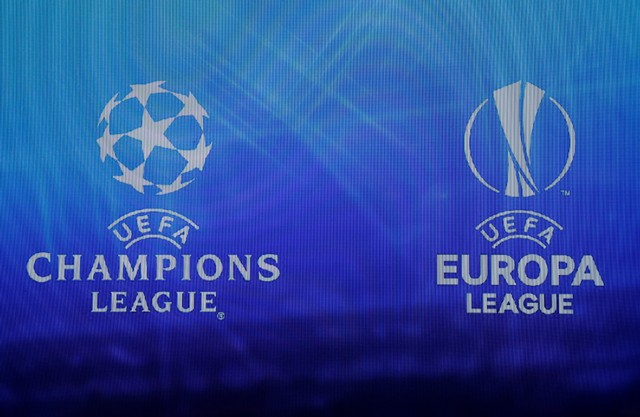 Soccer Football - Europa League Group Stage Draw - Grimaldi Forum, Monaco - August 31, 2018   UEFA Champions League and Europa League logos displayed during the draw   REUTERS/Eric Gaillard